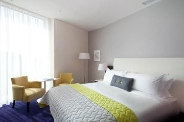 Interior photograph of luxury bedroom Marker Hotel Dublin