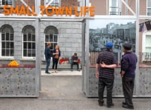 Free Market two men admiring the exhibition for Free Market exhibition CastleBlayney Co. Monaghan