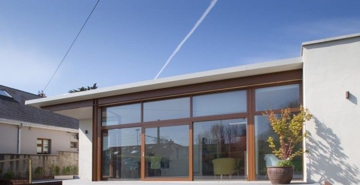 Architectural photography of exterior of extension of residential house showing back elevation in ireland
