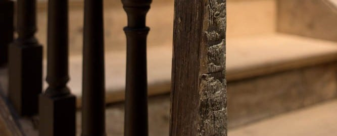 Existing stair newel post of Dublin Tenement house showing the existing condition of the building