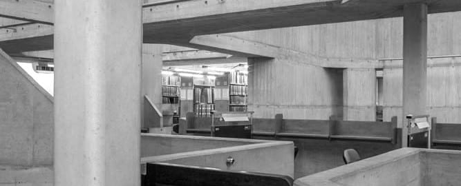 Architectural photography of heritage modernist project Dublin Ireland Berkeley Library Trinity College Dublin ABK Architects
